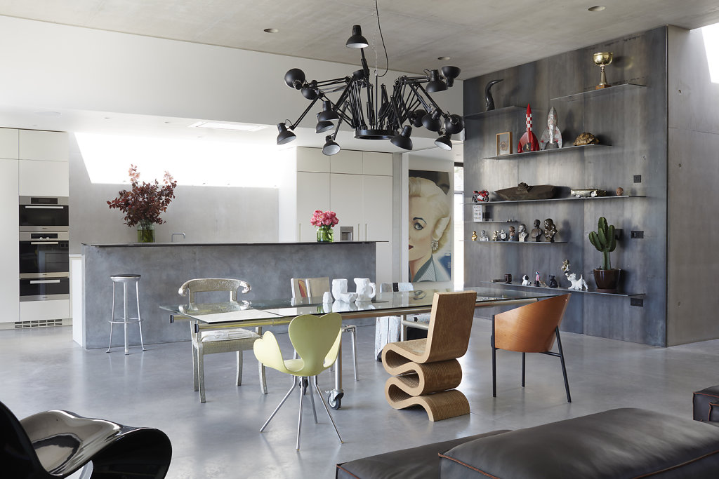 London Home  - Arch: Carmody Groarke - Chairs: Frank Gehry 'Wiggle Chair', Mark Brazier Jones aluminium and velvet chair, Tom Dixon Melted plastic chair, Leonardo Volpi Fortuna Chair, Philippe Starck 'Costes'- Ceramics: Max Lamb